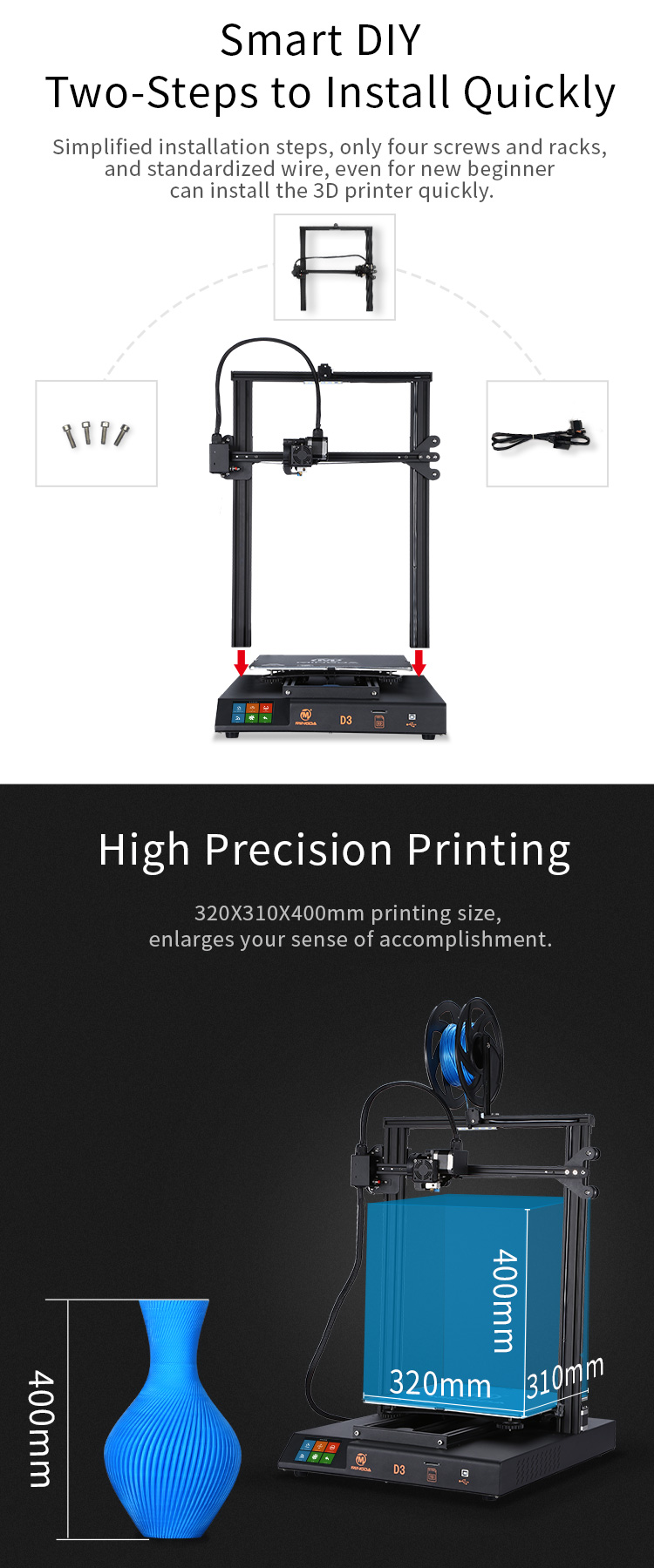 MINGDA D3 320*310*300mm 3d printer(图3)