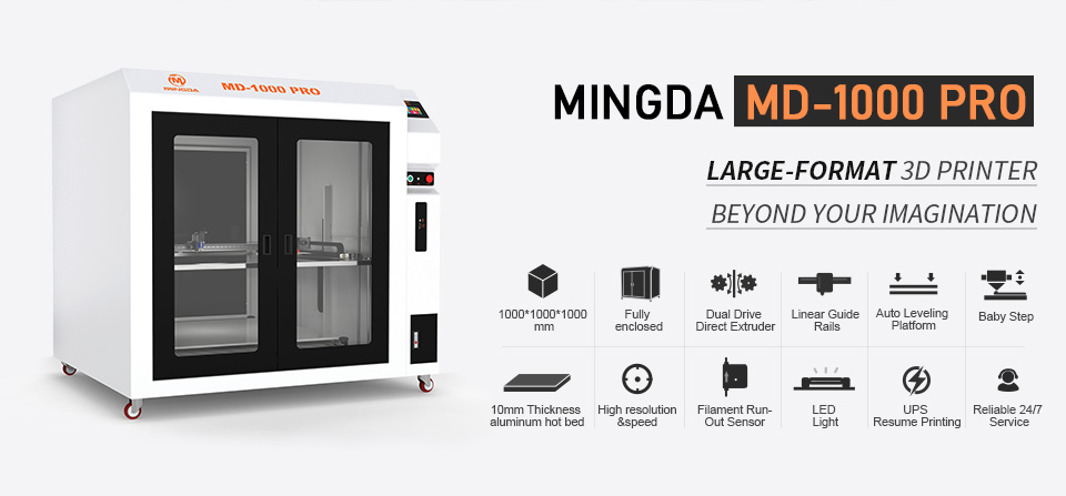 MD-1000 Pr Large Scale Printing Size 1m*1m*1m MINGDA 3D Printer for Plastic Models with PLA Filament(图1)